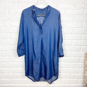 ENZA COSTA Chambray dress with sheen